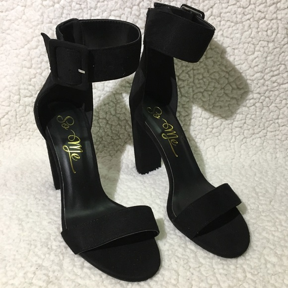 So Me Shoes - So Me Black Suede Ankle Strap Heels